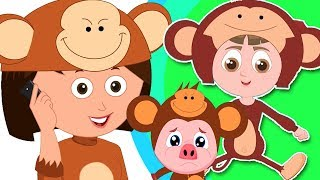 fünf kleine Affen | Affenlied | Gedicht für Kinder | Five Little Monkey | 5 Little Rhymes for Kids