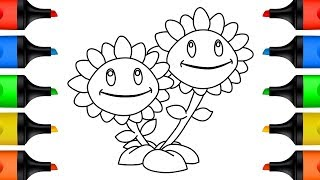 How to Draw Sunflowers Baby Shark Learn Colors for Kids Drawing and Coloring Pages for Children