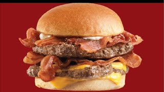 Wendy's Double Baconator meal eaten LIVE