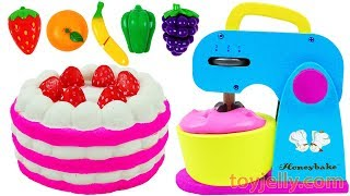 Play Doh Squishy Strawberry Cake and Toy Mixer Playset for Children Learn Colors Baby Nursery Rhymes