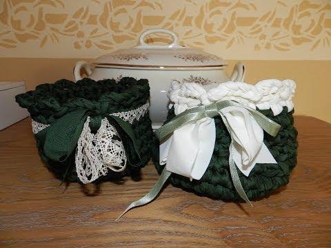 Cestino in fettuccia all uncinetto tutorial fondo tondo cesta crochet trapillo