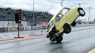 Fiat 600 Crashes And Flips Over At Santa Pod Raceway