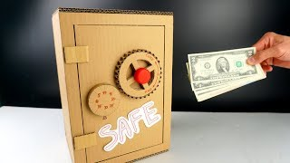 Cardboard Crafts  - How to make a Easy Safe box from Cardboard at home (full project measurement)