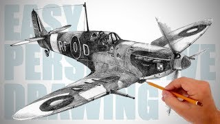 How to draw WW2 aircraft (Spitfire) - Easy Perspective Drawing 29