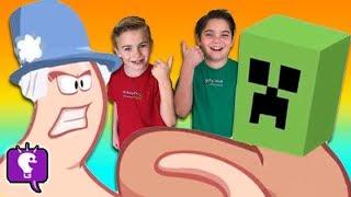 Thumb Fighter Skit + Phone App! Battle In Real Life, Funny Grandma KO  Game HobbyKidsTV