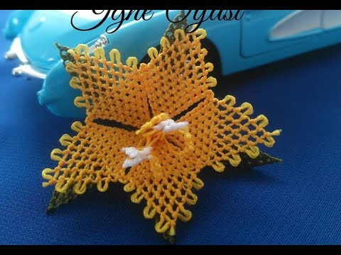 60-İğne Oyası Yıldız Çiçeği Yapımı (Aşama 2 Yeşil Yaprak Kısmı)