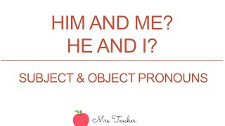 He and I? Him and me? Subject & Object Pronoun Usage