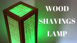 LED desk lamp made from wood shavings