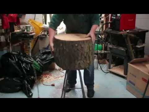 Lampara sacada de tronco de madera
