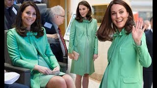 Kate Middleton news: Pregnant Duchess bares legs in stiletto heels and spring green coat