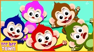 Five Little Monkeys Jumping On The Bed | 5 Cheeky Monkeys | Nursery Rhymes Collection by Teehee Town