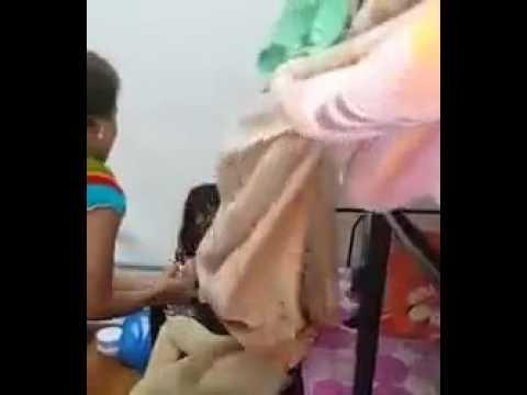 Hostel girl kissing  touching other girl boobs