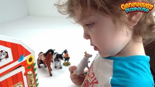 Genevieve helps Kids Learn Farm Animal Names with a Toy Barn!