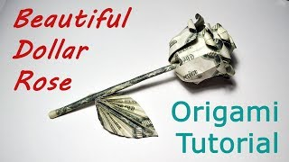 Beautiful Money ROSE with stem and leaf Origami Flower Dollar Tutorial DIY Folded No glue and tape