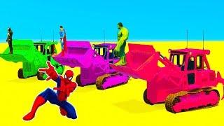 LEARN COLOR for Kids Bulldozer Race - Superheroes Cartoon Cars Spiderman for Babies