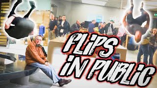 FLIPS IN PUBLIC 2! BACKFLIP! REACTIONS! 😮 Team GNT