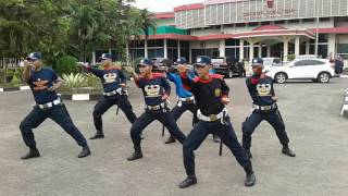 Latihan dril borgol 1,5,6 dan dril 2 tongkat T security PT.Krakatau Daya Listrik Polres Cilegon