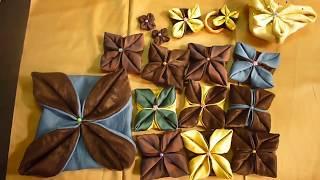 خياطة وطي القماش وتحويل الدائرة الى وردة بارزةFolded Fabric Ornaments