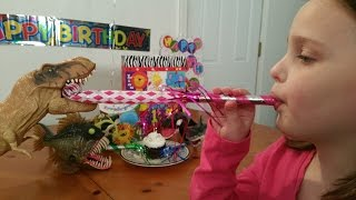 "Pet Dinosaur Birthday Party T Rex Eating Cake with Sharks ""Toy Freaks"""