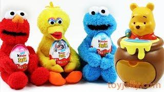 Learn Colors Disney Pooh Piggy Bank Baby Toys Kinder Joy Surprise Egg Elmo Big Bird Cookie Monster