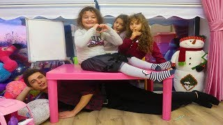 Öykü, Masal and Cousin play Hide and Seek - The Floor is Lava Funny Kids Video