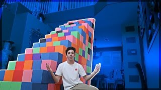 BUILDING A FOAM PIT STAIRCASE!! (ATTEMPTING TO CLIMB UP)