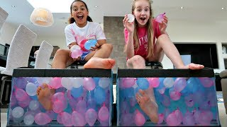 WHAT'S IN THE BOX CHALLENGE - UNDERWATER Feet Edition | Toys AndMe