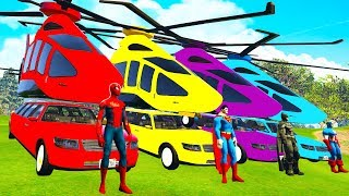LEARN COLOR Helicopter on Cars w Spiderman cartoon for kids - Superheroes for babies