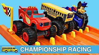 Monster Trucks Downhill Racing Teaching Colors for Kids - Blaze Monster Machines Paw Patrol Disney