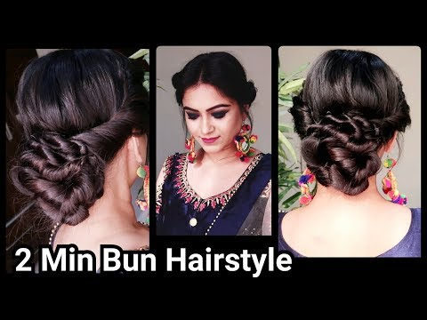 Xxx Mp4 2 Min Indian Bun Hairstyle For DIWALI Easy Hairstyles For Medium To Long Hair Party Hairstyle 3gp Sex