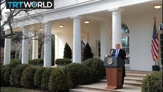Donald Trump speaks to press at White House