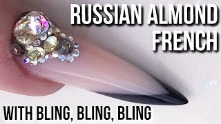 Russian Almond Acrylic Sculpted Nail - The Costs of Blingy Nails