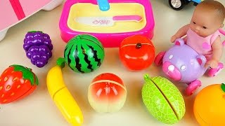 Fruit vegetable cutting play with Baby Doll and surprise eggs and car toys