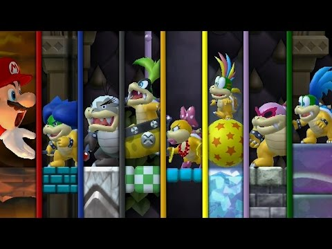 New Super Bowser Wii - All Castles (Bowser VS Koopalings and Evil Mario)
