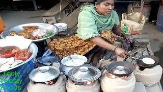 Street Cooking & Recipe - Road Side Street Food Egg (Dim) Mix Pitha - Street World - Bengali Food BD