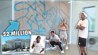 I SPRAY PAINTED MY FRIENDS DADS 2 MILLION DOLLAR HOUSE! *he was heated*
