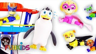 Paw Patrol Super Pups Teach Penguin How to Fly and Rescue Him