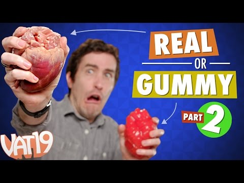 Gummy Food vs. Real Food Challenge 2 Eating Heart Tongue Rat Rabbit and Octopus.