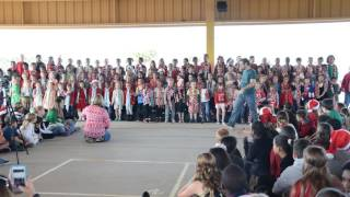 DBES Kindergarten sings Jingle bells and Santa Claus Rock