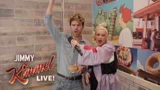 Christina Aguilera Pranks Unsuspecting Customers at Donut Shop