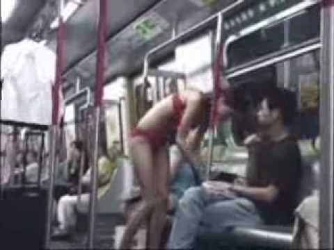 Hot Asian chick gets ready on the subway