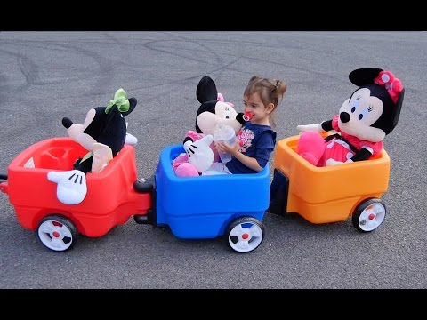 Minnie Mouse Ride Kids Wagon The Wheels on the Bus Learn Colours