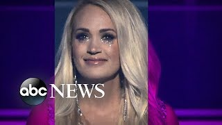 Carrie Underwood returns to the stage for 1st public appearance since accident