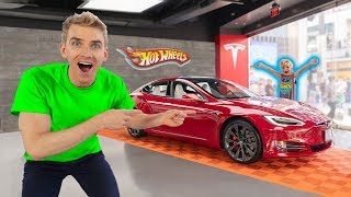 Found Mini Jake Paul in Super Rare Tesla Hot Wheels Car!!