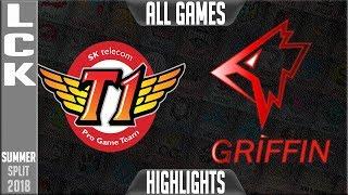 SKT vs GRF Highlights ALL GAMES - LCK Summer 2018 Week 2 Day 4 - SK Telecom T1 vs Griffin Highlights