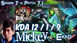 ROX Mickey EKKO vs KATARINA Mid - Patch 7.1 KR Ranked