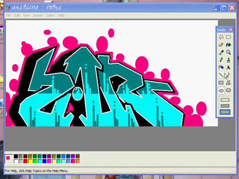 Como hacer graffiti En MSpaint how to do Graffiti on paint