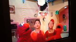 Elmo's high pitched scream makes the timer fly in the air
