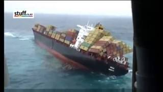 Container Ship Rena sinking - Helicopter footage - New Zealand