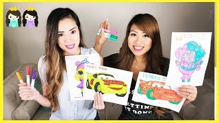 3 Marker Challenge with Princess ToysReview! LOL Surprises, Trolls, and Disney Cars